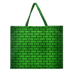 Brick1 Black Marble & Green Brushed Metal (r) Zipper Large Tote Bag