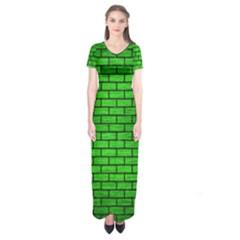 Brick1 Black Marble & Green Brushed Metal (r) Short Sleeve Maxi Dress