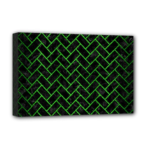 Brick2 Black Marble & Green Brushed Metal Deluxe Canvas 18  X 12