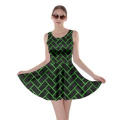 Brick2 Black Marble & Green Brushed Metal Skater Dress