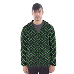 Brick2 Black Marble & Green Brushed Metal Hooded Wind Breaker (men)