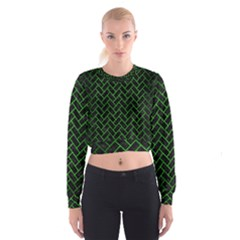 Brick2 Black Marble & Green Brushed Metal Cropped Sweatshirt