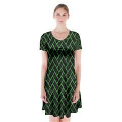 Brick2 Black Marble & Green Brushed Metal Short Sleeve V Neck Flare Dress