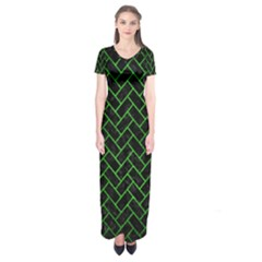 Brick2 Black Marble & Green Brushed Metal Short Sleeve Maxi Dress