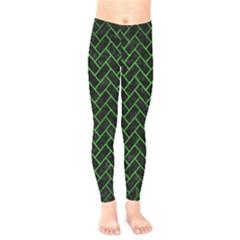 Brick2 Black Marble & Green Brushed Metal Kids  Legging