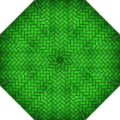 Brick2 Black Marble & Green Brushed Metal (r) Hook Handle Umbrellas (large)