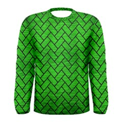 Brick2 Black Marble & Green Brushed Metal (r) Men s Long Sleeve Tee