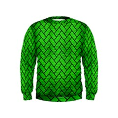 Brick2 Black Marble & Green Brushed Metal (r) Kids  Sweatshirt