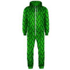 Brick2 Black Marble & Green Brushed Metal (r) Hooded Jumpsuit (men)