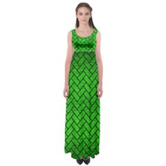 Brick2 Black Marble & Green Brushed Metal (r) Empire Waist Maxi Dress