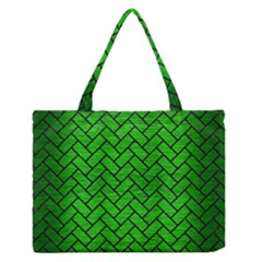 Brick2 Black Marble & Green Brushed Metal (r) Zipper Medium Tote Bag
