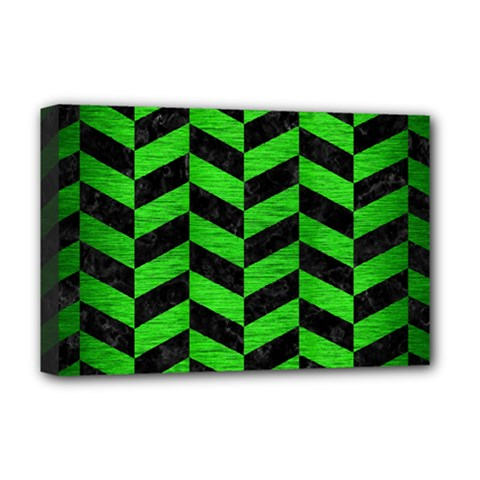Chevron1 Black Marble & Green Brushed Metal Deluxe Canvas 18  X 12