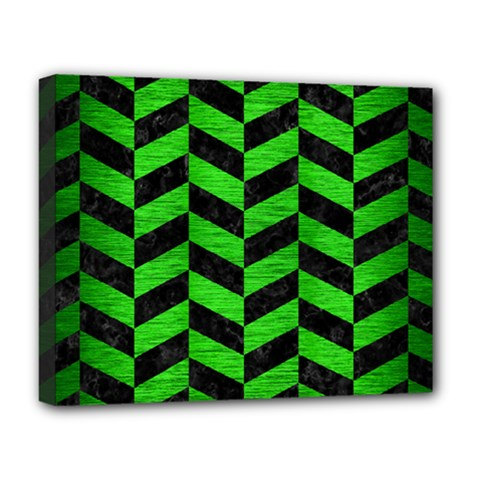 Chevron1 Black Marble & Green Brushed Metal Deluxe Canvas 20  X 16