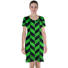 Chevron1 Black Marble & Green Brushed Metal Short Sleeve Nightdress