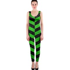 Chevron1 Black Marble & Green Brushed Metal Onepiece Catsuit