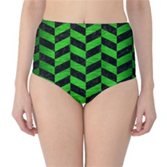 Chevron1 Black Marble & Green Brushed Metal High Waist Bikini Bottoms