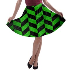 Chevron1 Black Marble & Green Brushed Metal A Line Skater Skirt