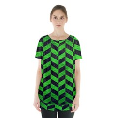 Chevron1 Black Marble & Green Brushed Metal Skirt Hem Sports Top