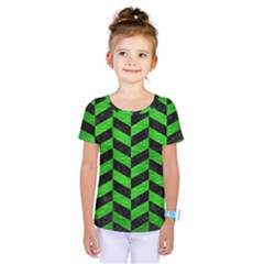 Chevron1 Black Marble & Green Brushed Metal Kids  One Piece Tee