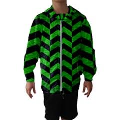 Chevron2 Black Marble & Green Brushed Metal Hooded Wind Breaker (kids)