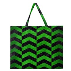 Chevron2 Black Marble & Green Brushed Metal Zipper Large Tote Bag