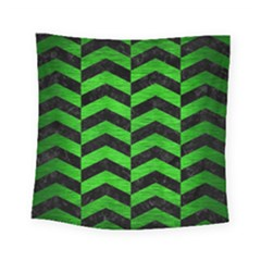 Chevron2 Black Marble & Green Brushed Metal Square Tapestry (small)