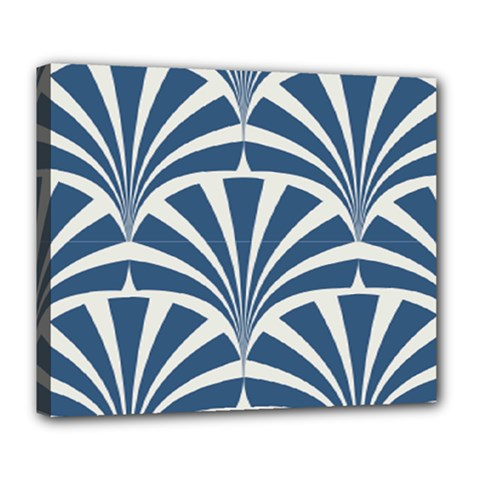 Teal,white,art Deco,pattern Deluxe Canvas 24  X 20