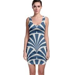 Teal,white,art Deco,pattern Bodycon Dress