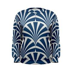 Teal,white,art Deco,pattern Women s Sweatshirt