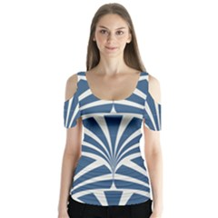Teal,white,art Deco,pattern Butterfly Sleeve Cutout Tee