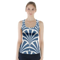 Teal,white,art Deco,pattern Racer Back Sports Top