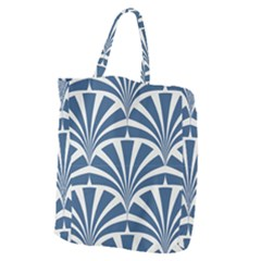 Teal,white,art Deco,pattern Giant Grocery Zipper Tote