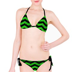 Chevron3 Black Marble & Green Brushed Metal Bikini Set