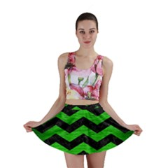 Chevron3 Black Marble & Green Brushed Metal Mini Skirt