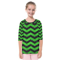 Chevron3 Black Marble & Green Brushed Metal Kids  Quarter Sleeve Raglan Tee