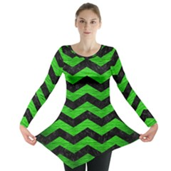 Chevron3 Black Marble & Green Brushed Metal Long Sleeve Tunic