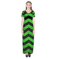 Chevron3 Black Marble & Green Brushed Metal Short Sleeve Maxi Dress