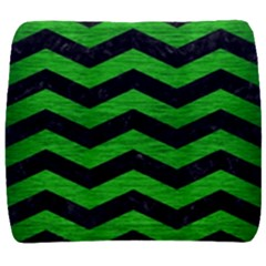 Chevron3 Black Marble & Green Brushed Metal Back Support Cushion