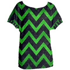 Chevron9 Black Marble & Green Brushed Metal Women s Oversized Tee