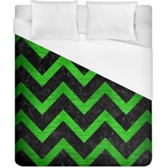 Chevron9 Black Marble & Green Brushed Metal Duvet Cover (california King Size)
