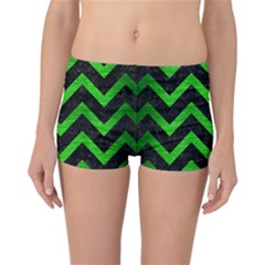Chevron9 Black Marble & Green Brushed Metal Reversible Boyleg Bikini Bottoms