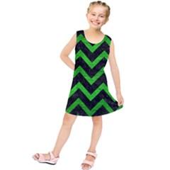 Chevron9 Black Marble & Green Brushed Metal Kids  Tunic Dress