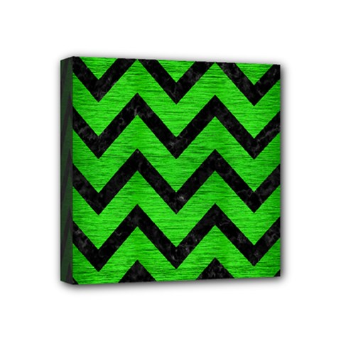 Chevron9 Black Marble & Green Brushed Metal (r) Mini Canvas 4  X 4