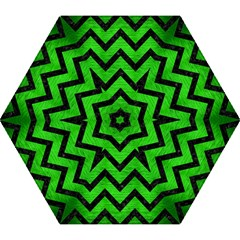 Chevron9 Black Marble & Green Brushed Metal (r) Mini Folding Umbrellas