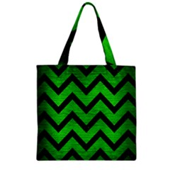 Chevron9 Black Marble & Green Brushed Metal (r) Zipper Grocery Tote Bag