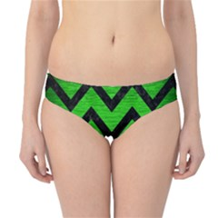 Chevron9 Black Marble & Green Brushed Metal (r) Hipster Bikini Bottoms
