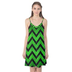 Chevron9 Black Marble & Green Brushed Metal (r) Camis Nightgown