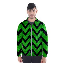 Chevron9 Black Marble & Green Brushed Metal (r) Wind Breaker (men)