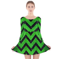 Chevron9 Black Marble & Green Brushed Metal (r) Long Sleeve Velvet Skater Dress