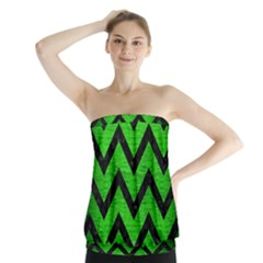 Chevron9 Black Marble & Green Brushed Metal (r) Strapless Top